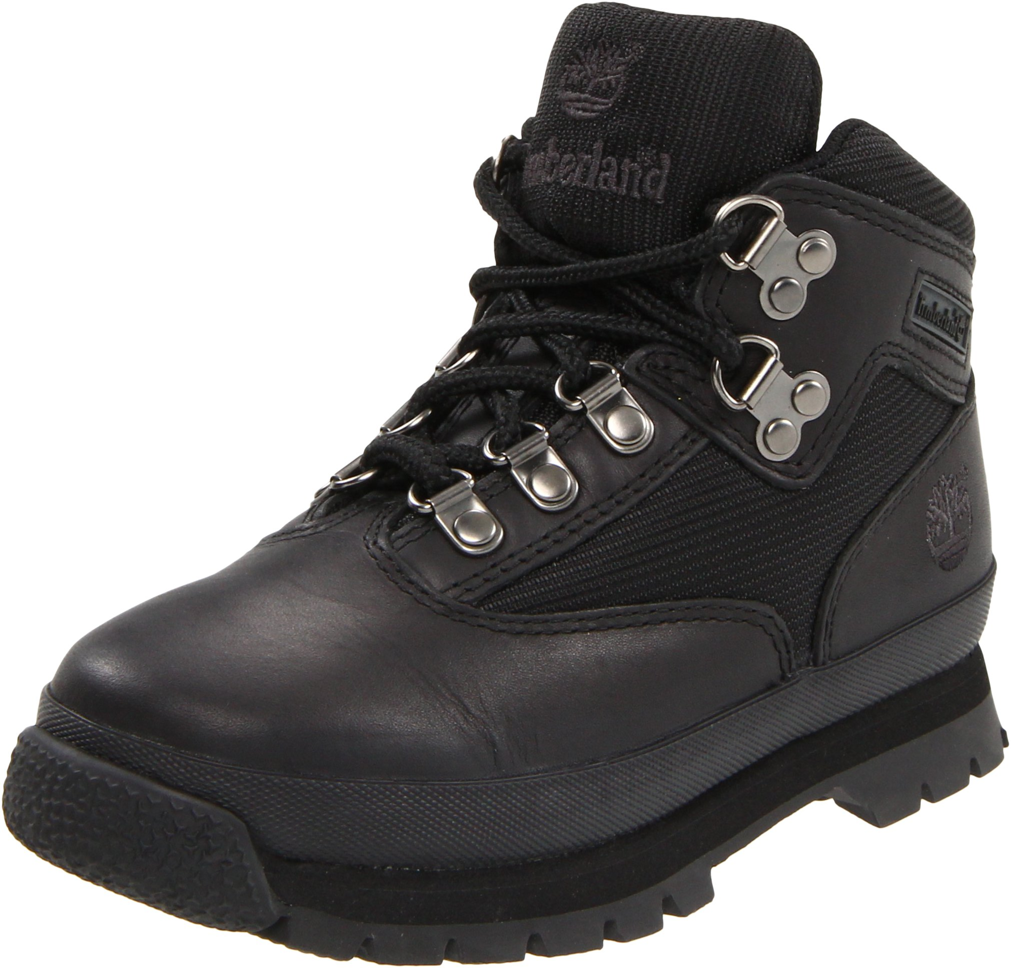 Timberland Euro Hiker Leather and Fabric Boot (Toddler/Little Kid/Big Kid),Black,10.5 M US Little Kid by Timberland