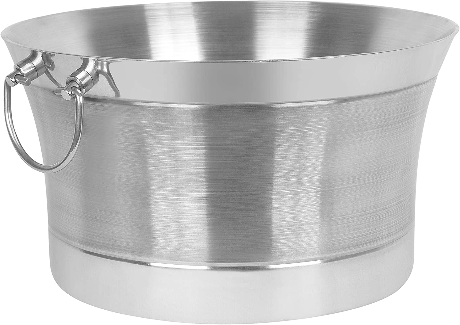 Birdrock Home Double Wall Round Beverage Tub Stainless Steel Ice Bucket Metal Drink Cooler House Party Handles Small Container Small Kitchen Dining