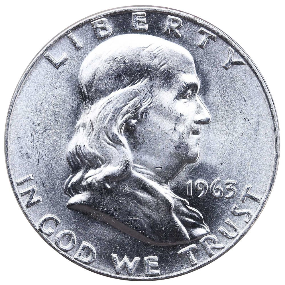 ABOUT UNCIRCULATED* 90/% SILVER *FREE SHIPPING* 1963 D Franklin Half Dollar *AU