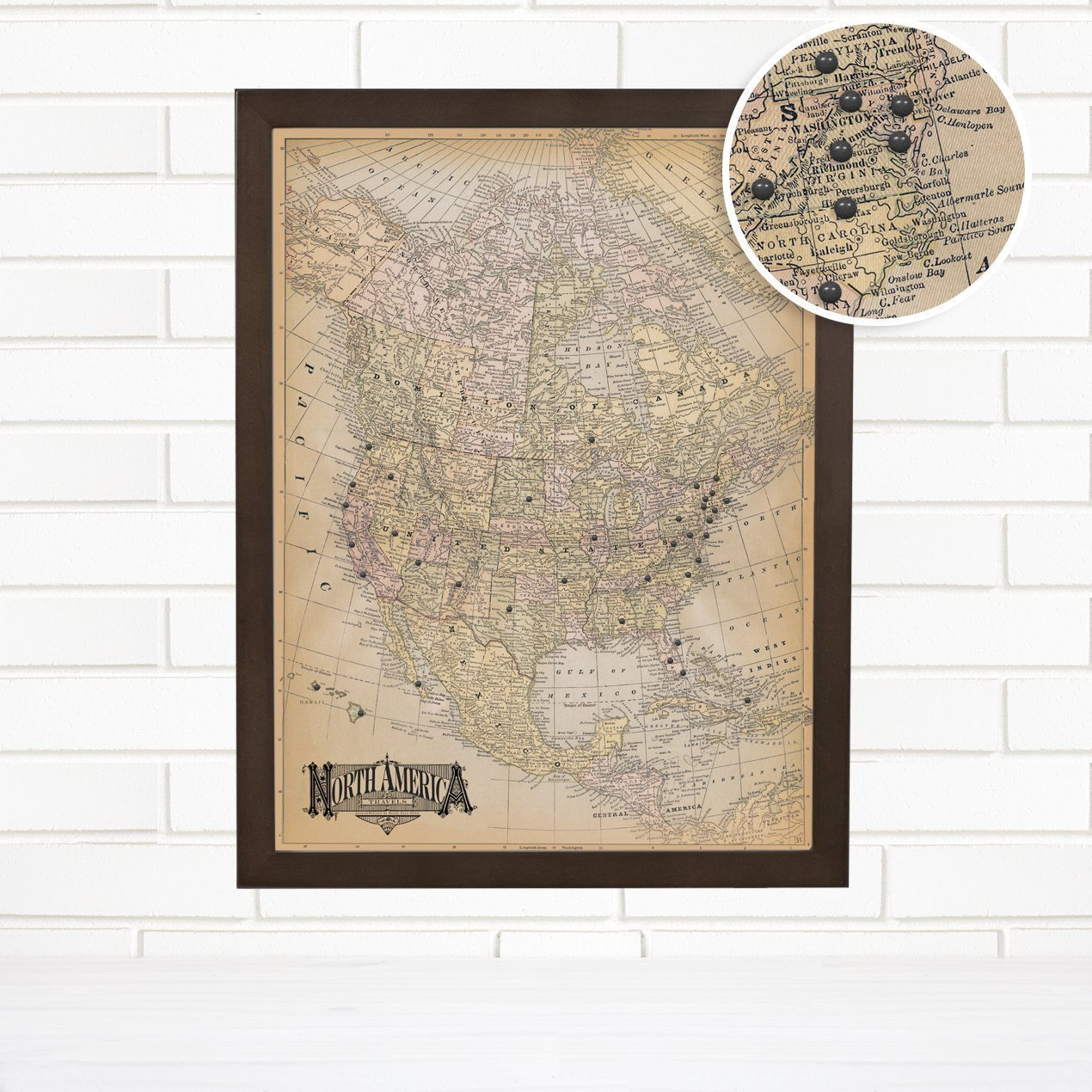 ''Vintage North America'' Ivory Travel Push Pin Map