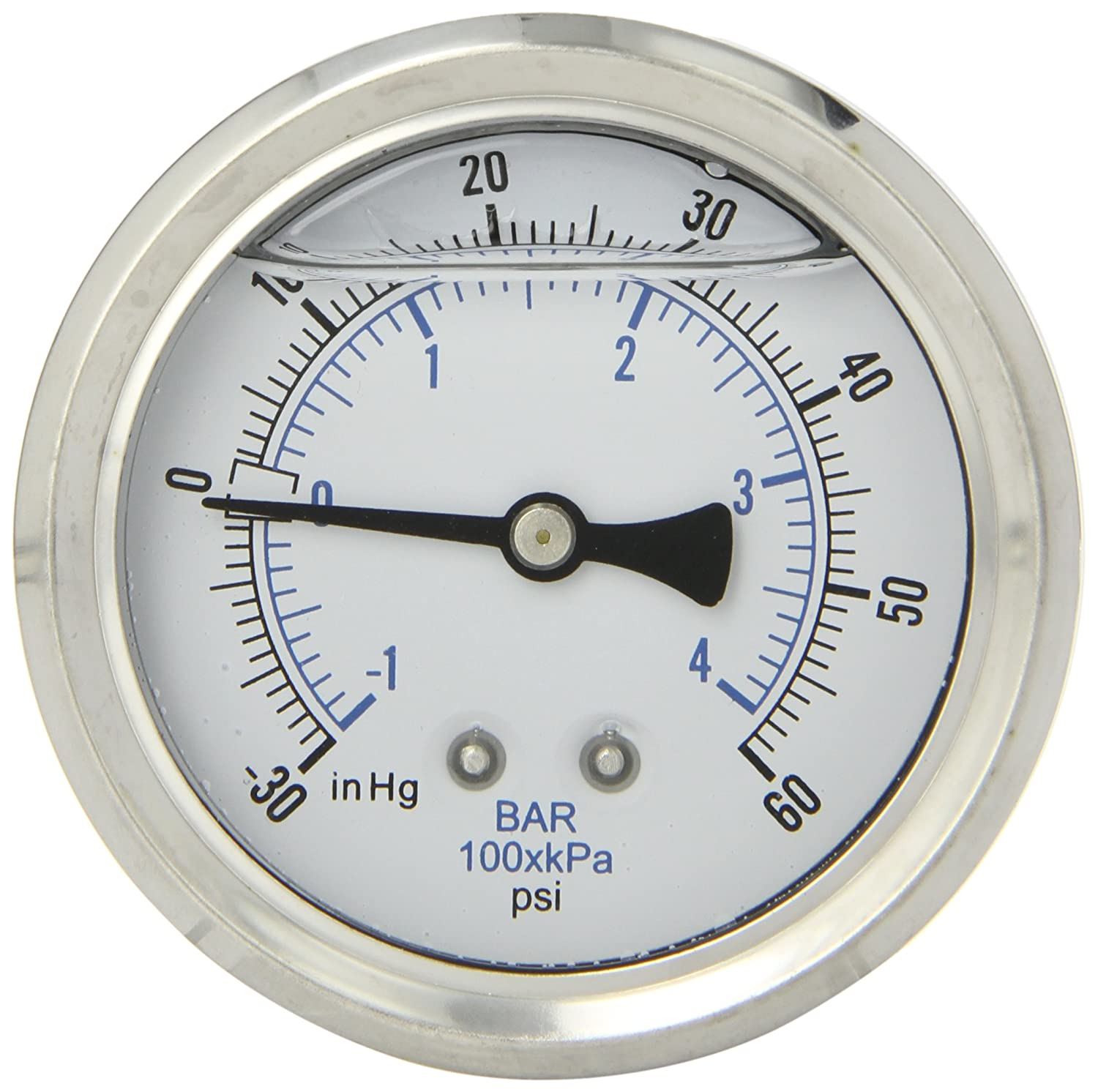 PIC Gauge PRO 202L 254CD Glycerin Filled Industrial Center Back Mount Pressure Gauge with Stainless Steel Case Brass Internals Plastic Lens 2 1 2 Dial Size 1 4 Male NPT 30 0 60 psi