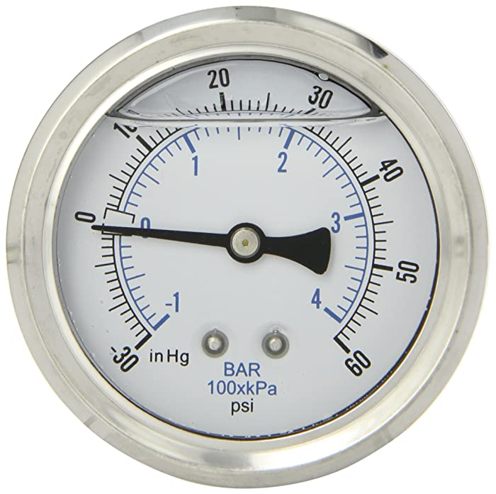 "PIC Gauge PRO-202L-254CD Glycerin Filled Industrial Center Back Mount Pressure Gauge with Stainless Steel Case, Brass Internals, Plastic Lens, 2-1/2"" Dial Size, 1/4"" Male NPT, 30/0/60 psi"