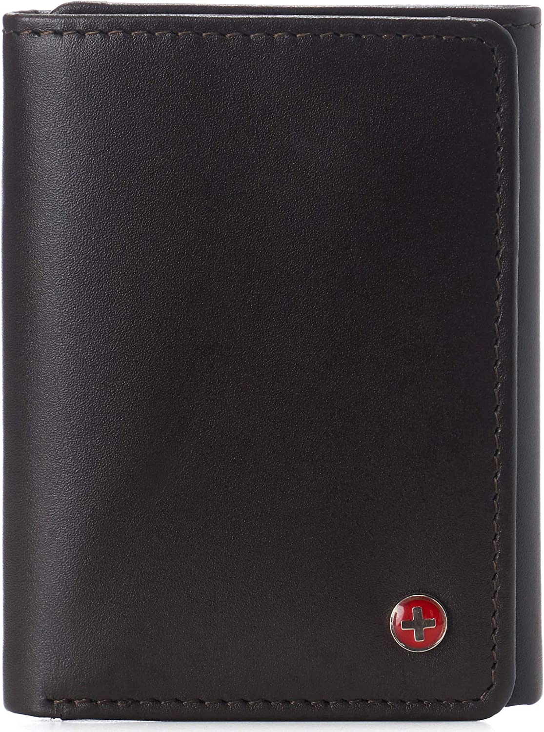 Alpine Swiss Mens Leon Trifold Wallet RFID Safe Comes in a Gift Box