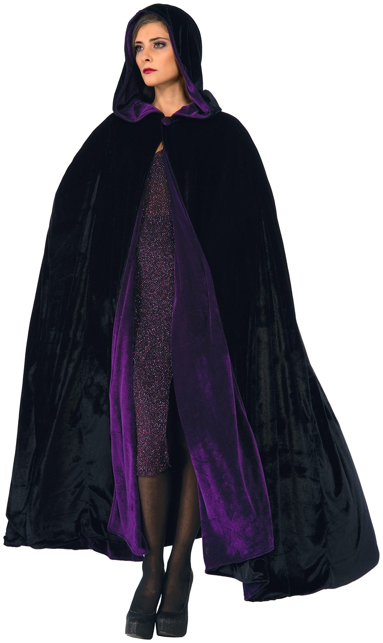 Forum Novelties Purple Black Reversible Hooded Velvet Cloak