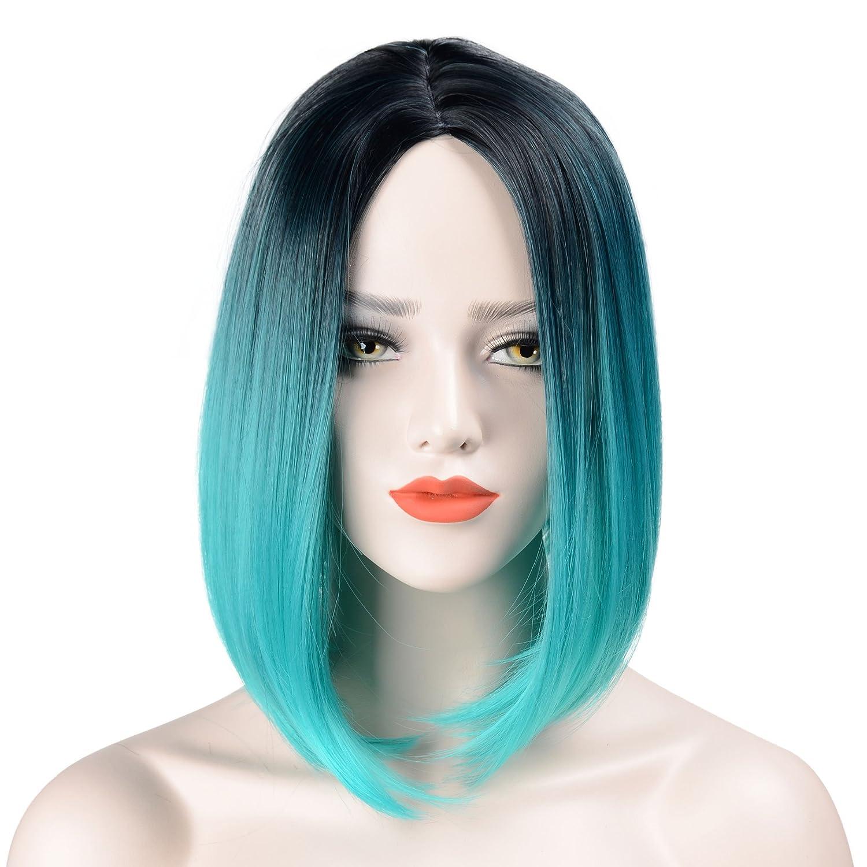 Hawkko Wigs For Black Women Bob Straight Hair Natural Looking Short Ombre Wigs Synthetic Hair Fashion Heat Resistant Full Head(Black/Cyan)