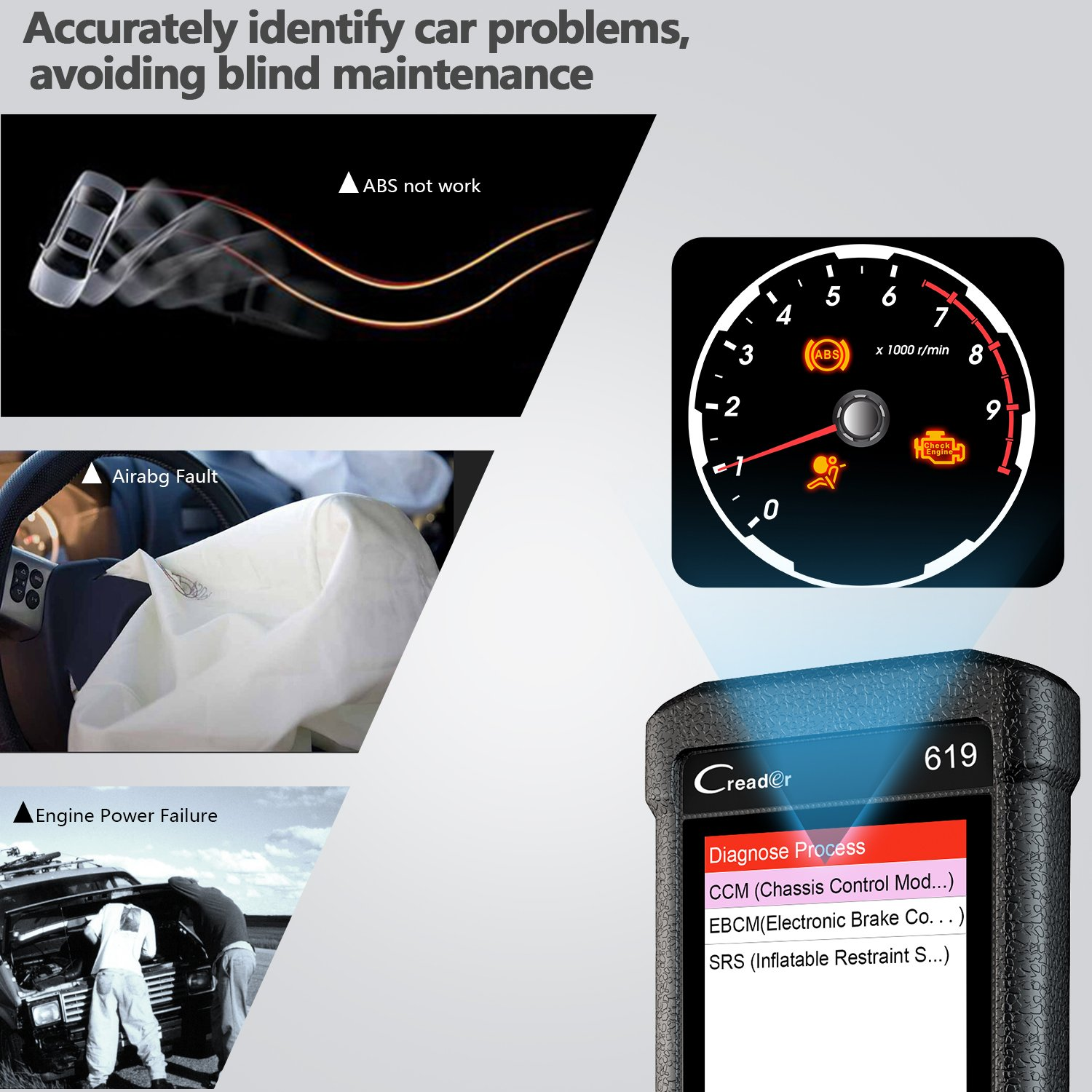 LAUNCH Creader CR619 Automotive ABS SRS Obd2 OBD ii Scanner Check Car Engine ABS Airbag Light Fault Code Readers Auto Dignostic Scan Tool with EVAP O2 On-Board Test by LAUNCH (Image #4)