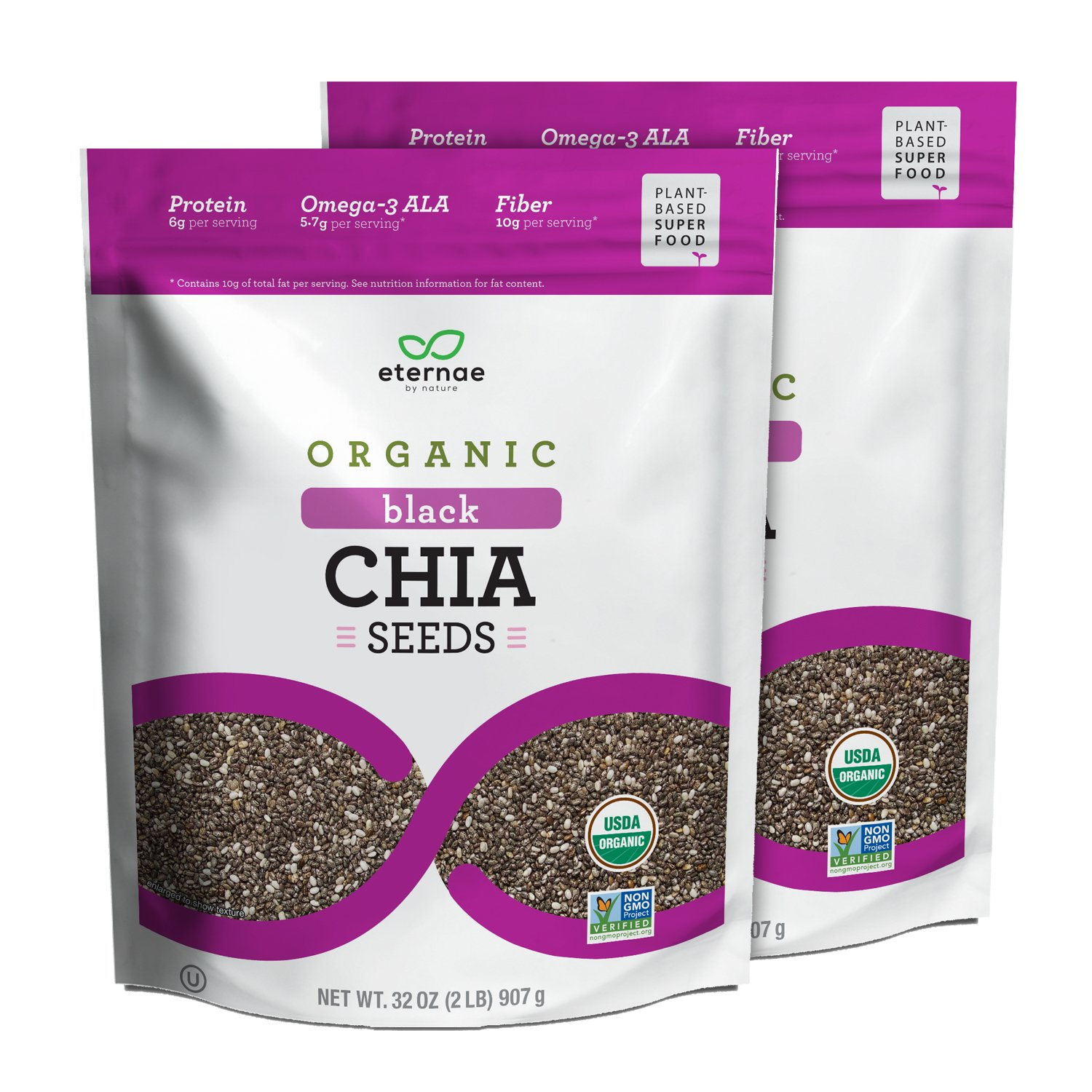 Eternae By Nature Organic Raw Chia Seeds, 32 Oz, 2Count