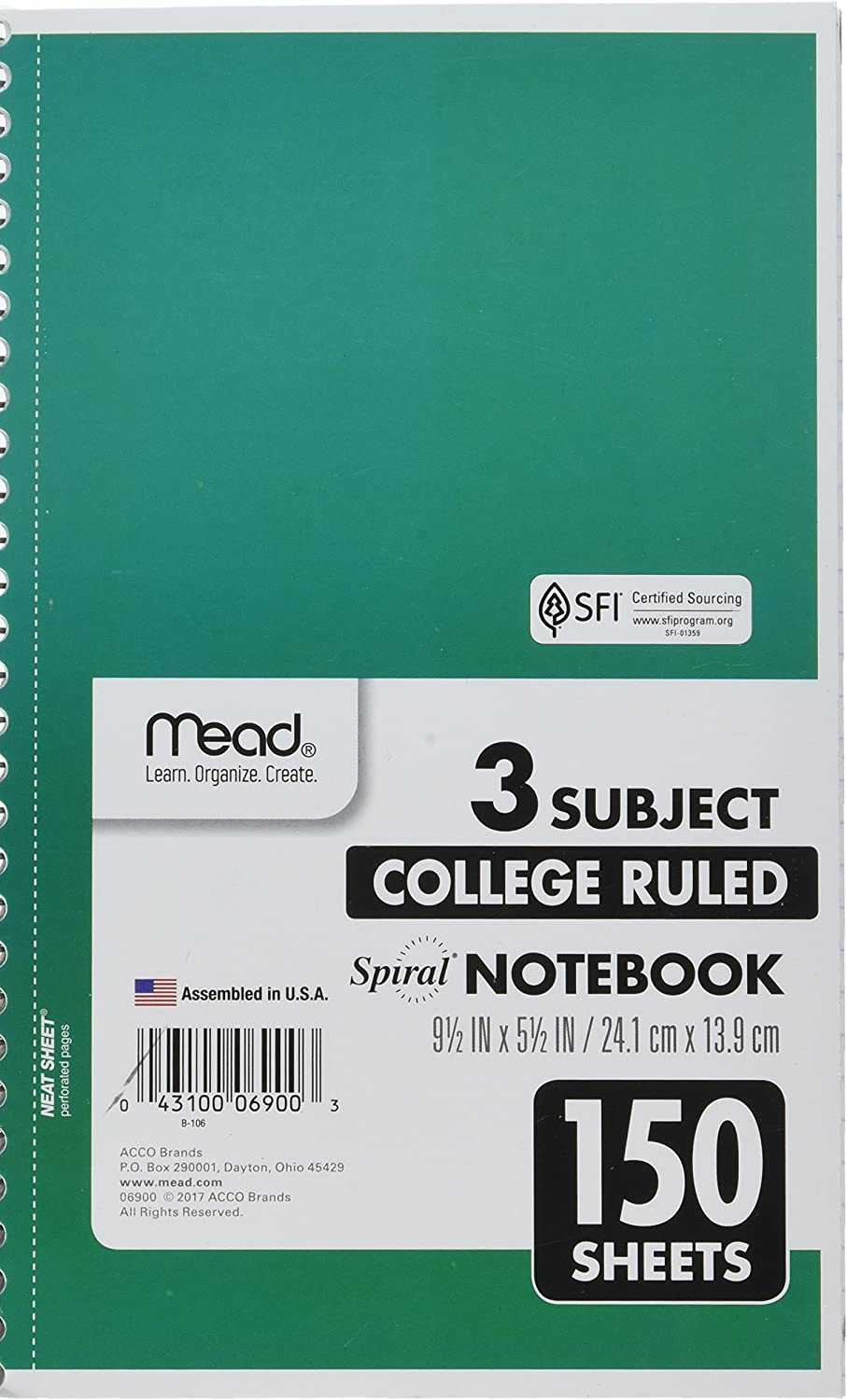 """Mead Spiral Notebook, 3 Subject, College Ruled Paper, 150 Sheets, 9-1/2"""" x 5-1/2"""", Color Selected For You (06900) : Office Products"""