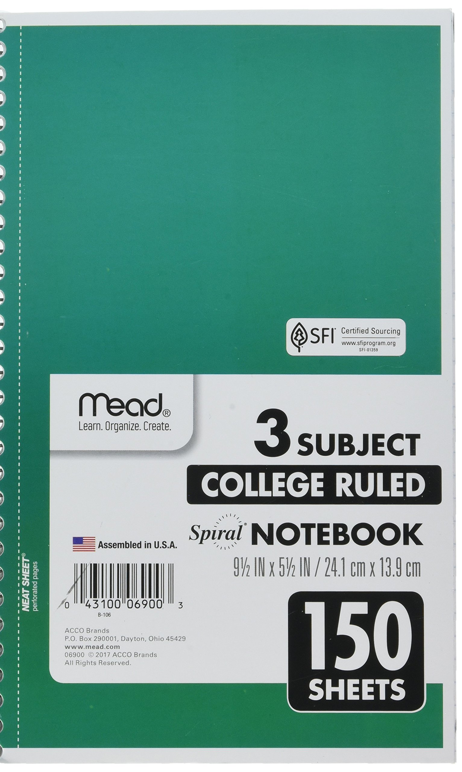 Mead Spiral Notebook, 3 Subject, College Ruled Paper, 150 Sheets, 9-1/2'' x 5-1/2'', Color Selected For You (06900)