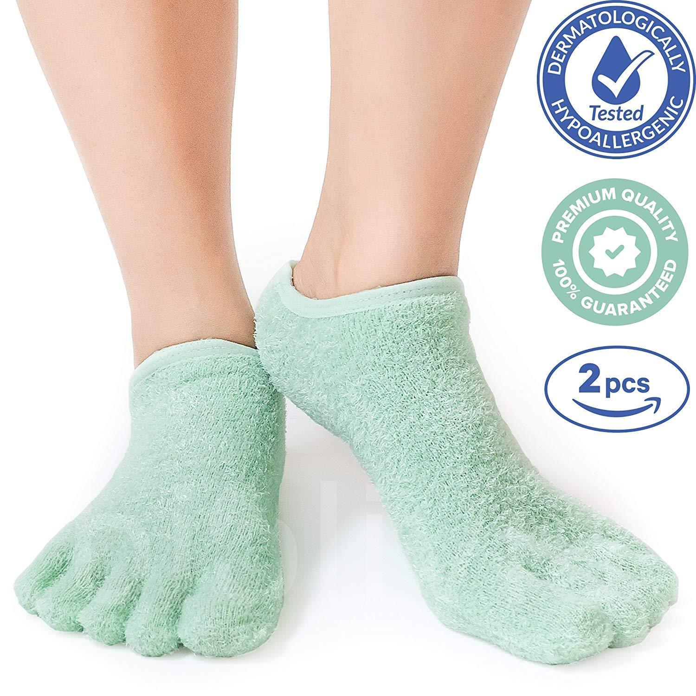 Premium Moisturizing Five Fingers Foot Gel Spa Socks | Soften Dry Feet & Hydrate Rough Skin | Biolivia Medical-Grade Gel Helps Repair Cracked Heels Corn Calluses Toenail | 5 Toes 1 Pair Women Men