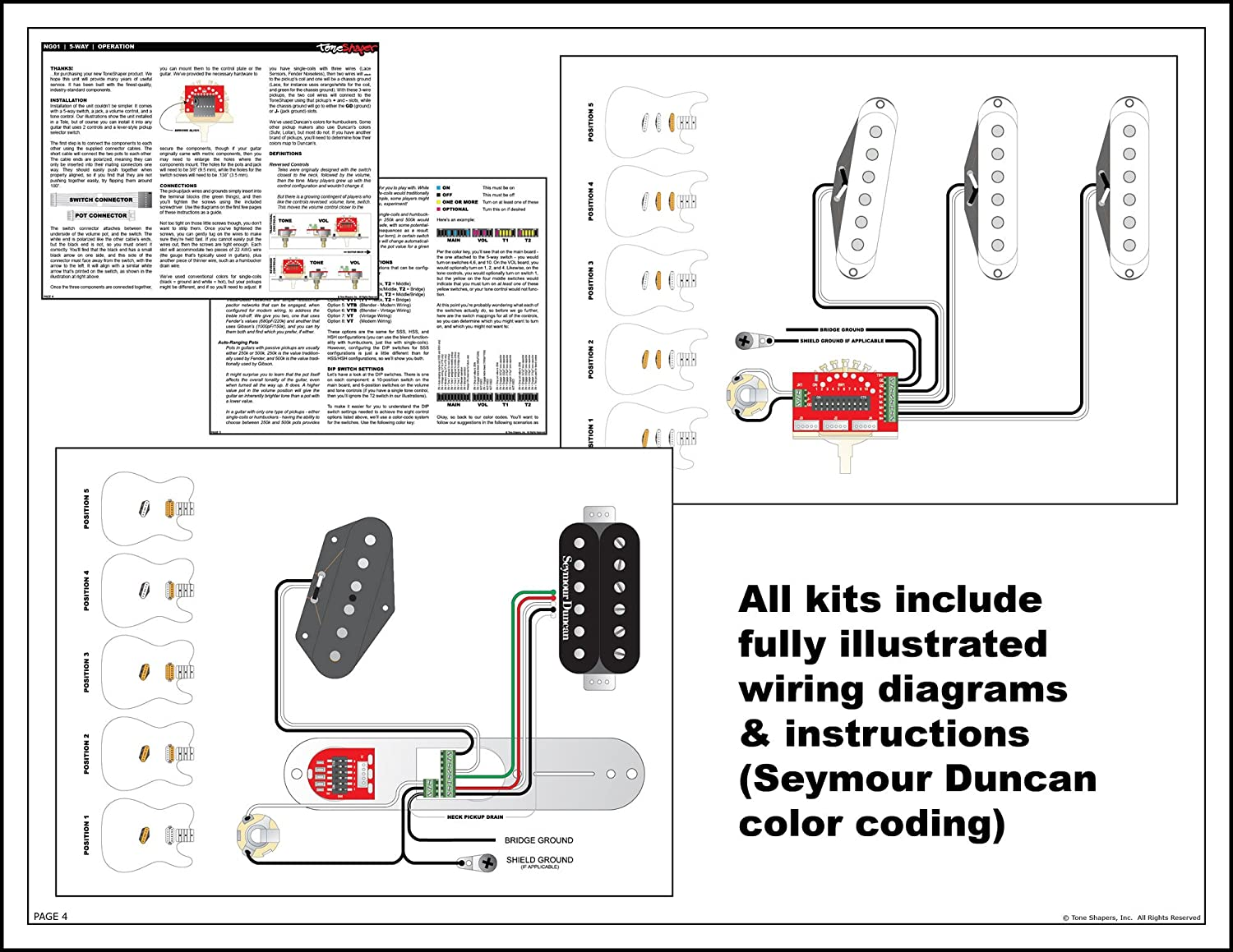 Wiring Diagram Hsh 5 Way Fender Switch Imgs Toneshaper Nextgen Kit Solder Free Ng03 Strat Many Other Guitars 2 Or 3 Controls Musical Instruments