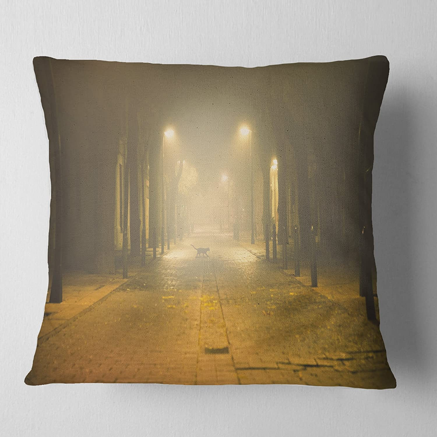 Home Kitchen Designart Cu9406 18 18 Urban Street At Night Landscape Photo Cushion Cover For Living Room X 18 In Sofa Throw Pillow 18 In In Bedding