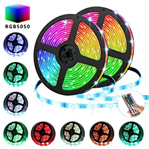 LED Strip Lights,TATUFY 32.8FT/10M 300 LED SMD5050 RGB Strip Lights IP65 Waterproof Flexible Tape Light Kit Rope Lights Color Changing with 44 Keys IR Remote Controller & 12V 5A Power Supply
