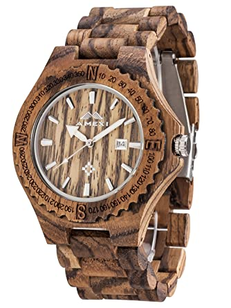 round wooden designed box bamboo gift analog watches men natural mens products casual quartz watch with handmade s unique