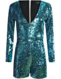 HaoDuoYi Women's Sparkly Sequin V Neck Long Sleeve Party Clubwear Romper Jumpsuit