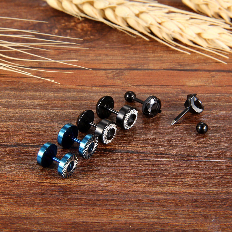 Cupimatch 6PCS Mens Stainless Steel Rhinestone Faux Illusion Stud Earrings Ear Plugs Tunnel Set