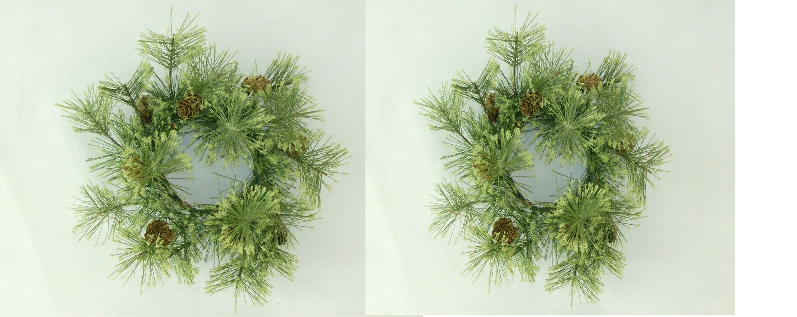 PAIR - Deluxe Smokey Pine Wreath with Pinecone Accents Choice of 3 Sizes (4 Inch)
