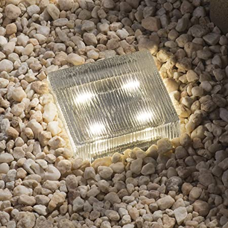 Warm White Crystal Glass Solar Powered Square Ground Brick Path Yard Light HOT
