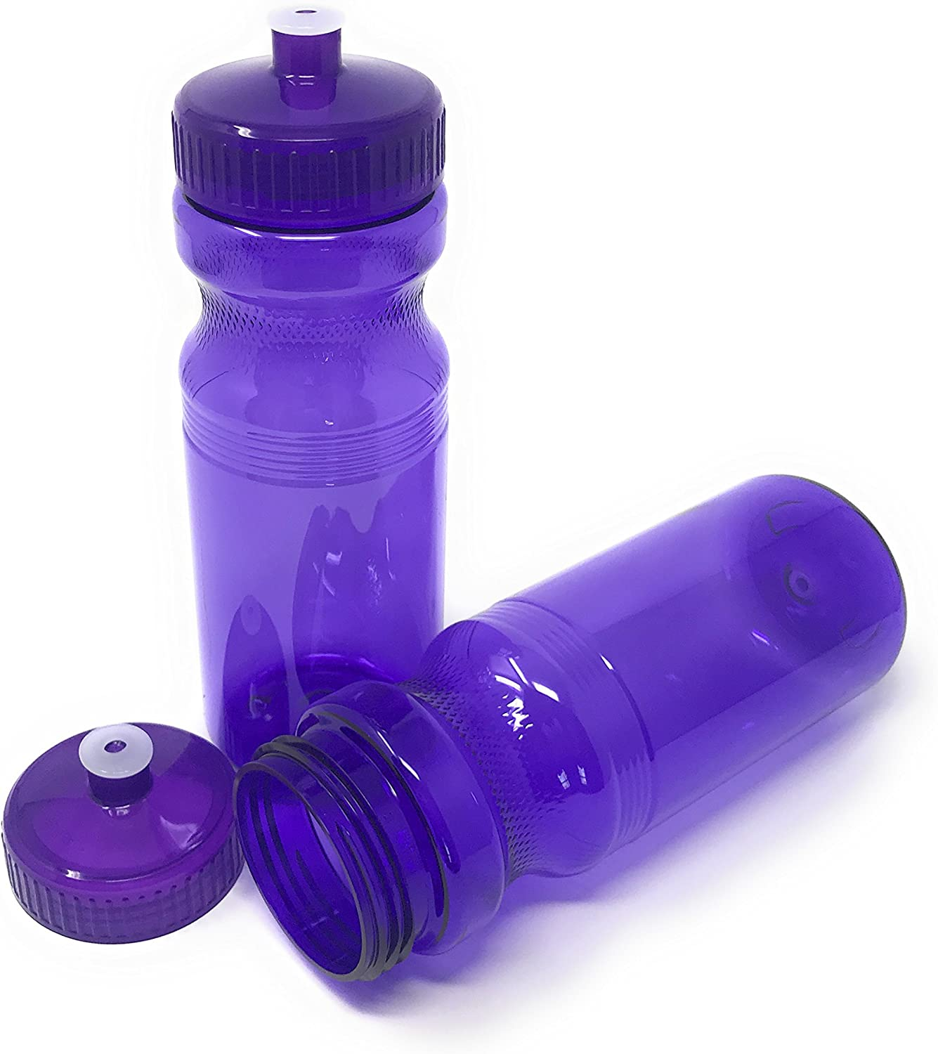CSBD Sport Water Bottle 4 Pack, BPA Free, PET and HDPE Plastic, Made in USA, Bulk, Multiple Colors & Sizes Available
