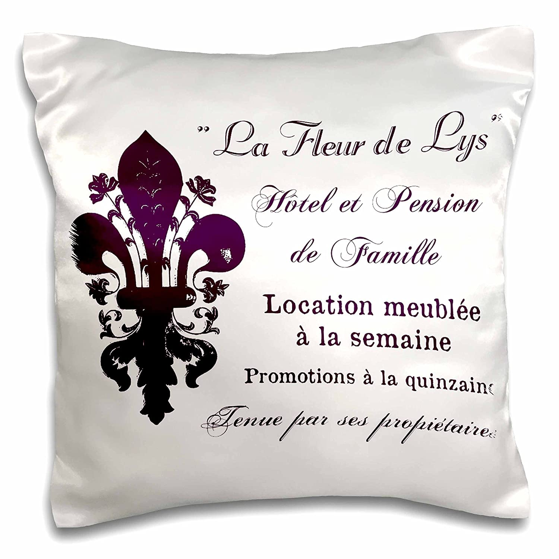 pc/_164657/_1 16 by 16 3dRose La Fleur De LYS French Vintage Typography-Pillow Case