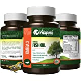 Omega 3 Fish Oil High potency 1480mg, Essential Fatty Acid Combination, High in EPA and DHA 180 Lemon flavored Softgels, Supports Immune, Joint, Skin, and Mental Health By VitaPath
