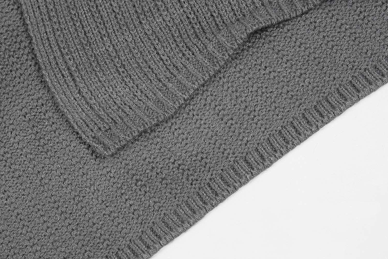Fueri Mens Shawl Collar Cardigan Long Open Edge Knit Sweater Lightweight Warm Winter Coat Jumper Slim Fit Outwear Knitwear Jacket