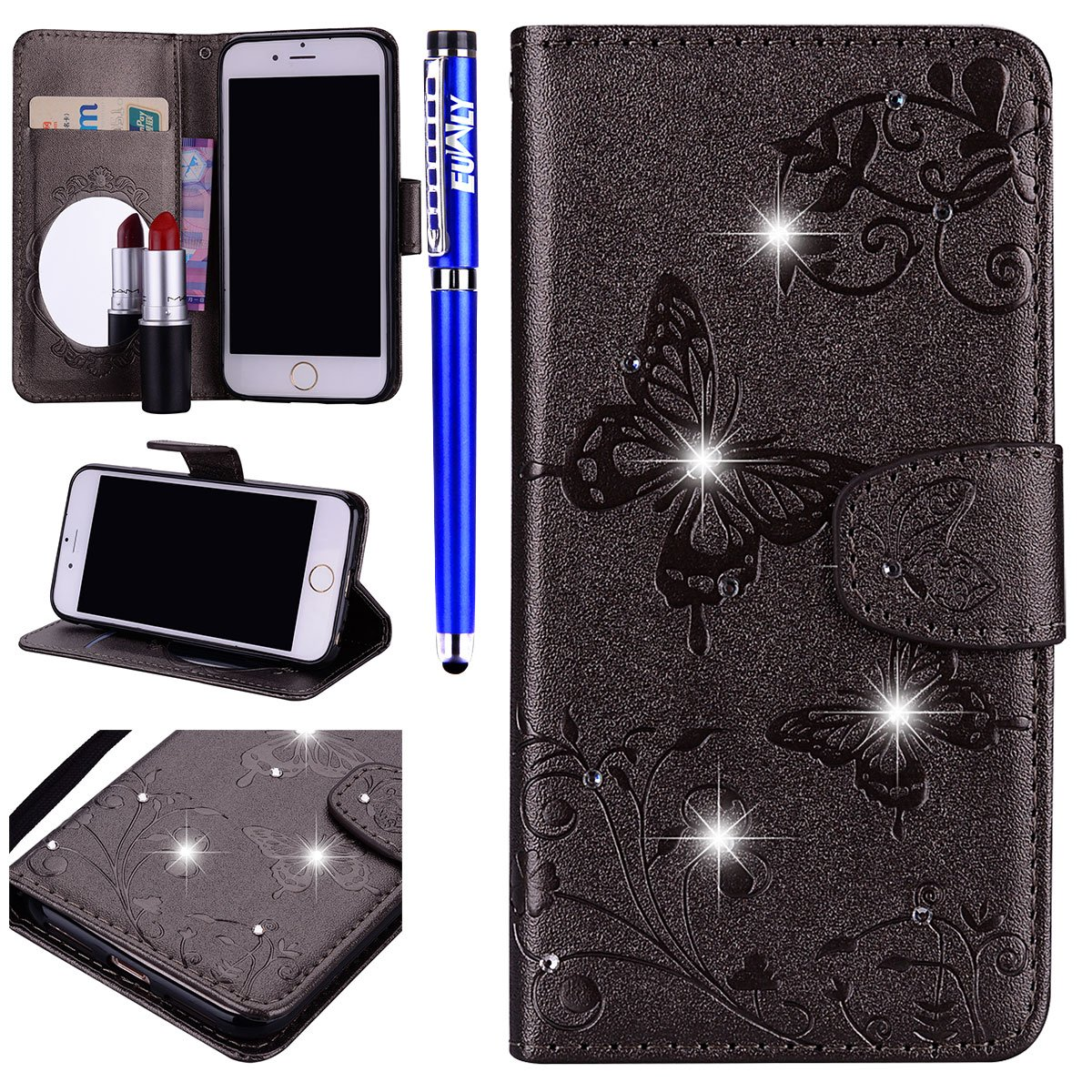 Case Iphone 5s/iPhone If, Cover iPhone 5S Mirror, euwly Wallet Leather Case Protective Bumper Flip Case Cover With Glitter Rhinestone Crystal Diamante Diamond Luxury Elegant Ultra slim Cover with Cosmetic Mirror Belle Butterfly Flowers Design Leather Case