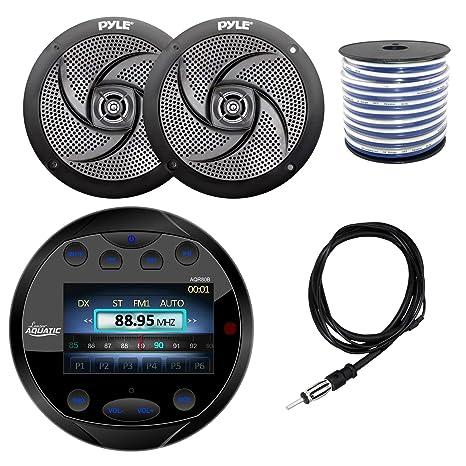 """Lanzar Marine Bluetooth Receiver 6.5/"""" 2Way White Speakers Speaker Wire,Antenna"""