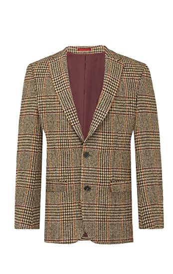 867c81f0 Harris Tweed Mens Light Brown Dogtooth Check Tweed Jacket Regular Fit 100%  Wool Notch Lapel