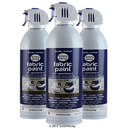 Simply Spray Upholstery Fabric Spray Paint 8 Oz. Can 3 Pack Navy Blue