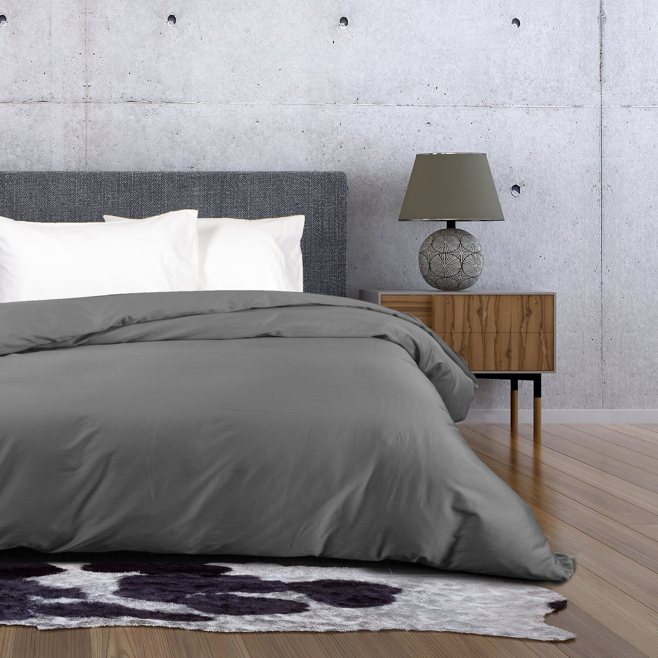 QE Home- 500TC Cotton Sateen 1pc Duvet Cover - Stone Grey | King