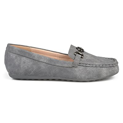 Amazon.com | Brinley Co. Womens Elisha Faux Leather Comfort-Sole Chain Accent Driving Loafers | Loafers & Slip-Ons