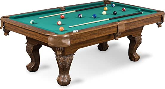 EastPoint Sports Billiard Pool Table with Felt Top - Features Durable Material and Parlor Style Drop Pockets - Includes Includes 2 Cues, Billiards Balls, and Triangle