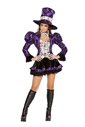 Charming Sexy Womenu0027s 4pc Tea Party Vixen Mad Hatter Alice In Wonderland Costume ...