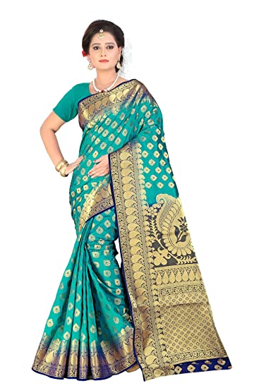 29bfadef9b12b Inheart Banarasi Silk Sarees New Collection Zari Work Fancy Sarees for  Women with Unstitched Blouse Piece