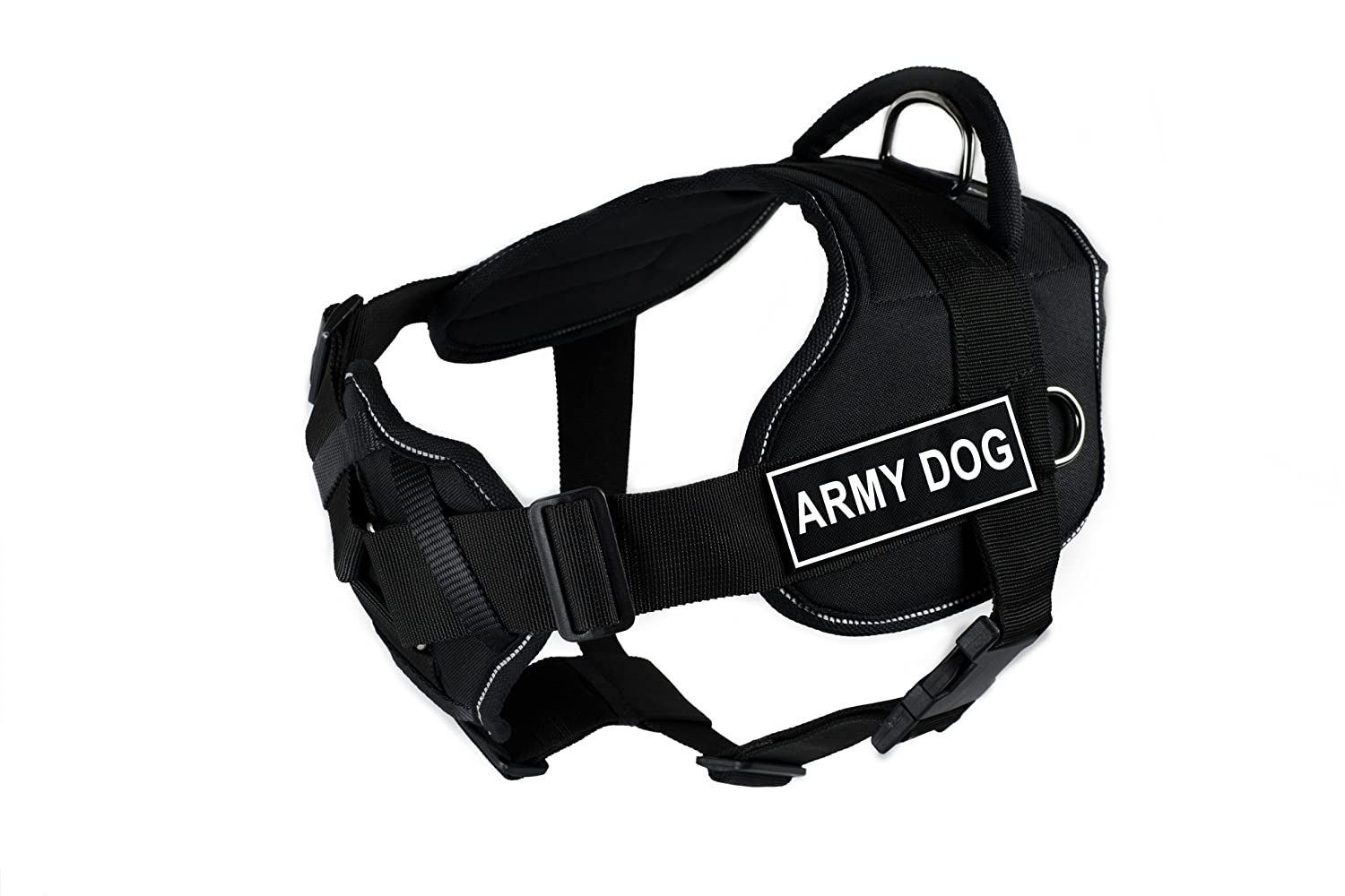 Dean & Tyler Fun Works Army Dog Harness with Padded Chest Piece, X-Large, Fits Girth Size  34-Inch to 47-Inch, Black with Reflective Trim