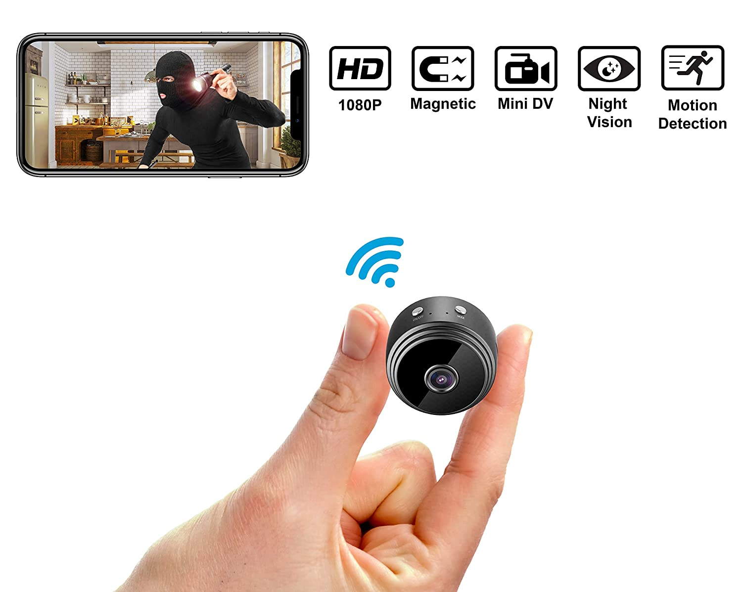 Mini Hidden Spy Camera Wireless HD 1080P Indoor Home Small Spy Cam Security Cameras/Nanny Cam Built-in Battery with Motion Detection/Night Vision for iPhone/Android Phone/iPad/PC [2019 Latest Version]
