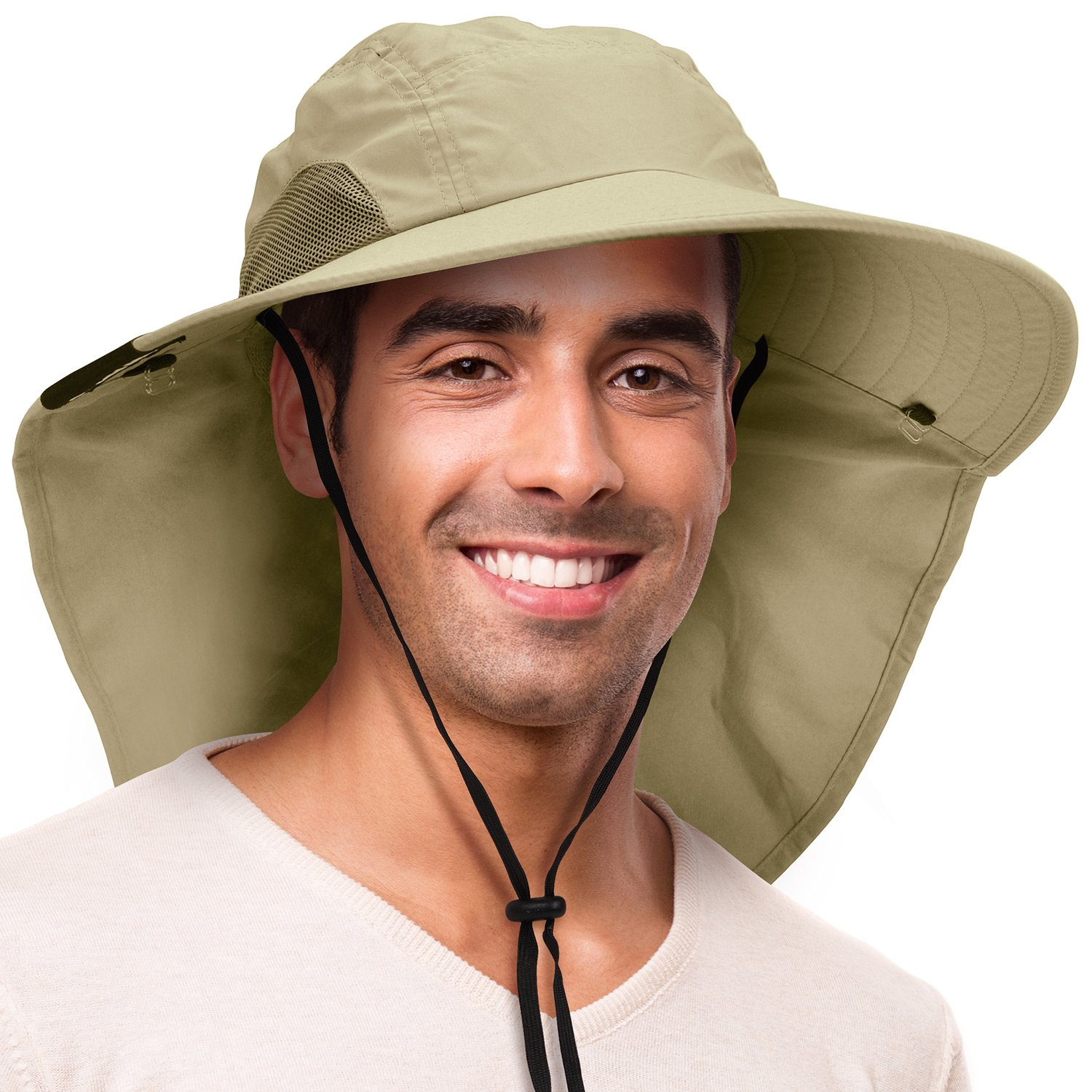 Solaris Outdoor Fishing Hat with Ear Neck Flap Cover Wide Brim Sun Protection Safari Cap for Men Women Hunting, Hiking, Camping, Boating Outdoor Adventures