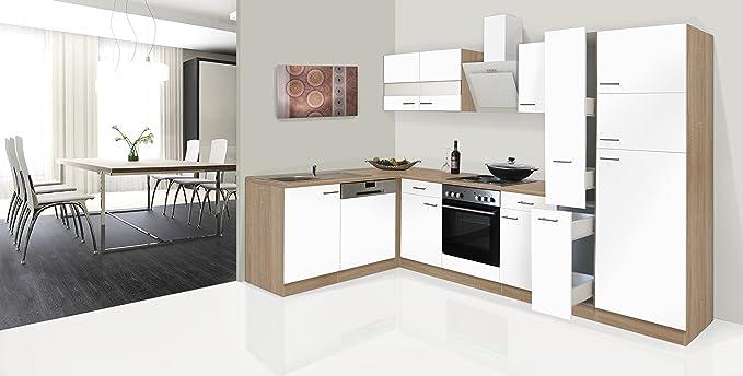 respekta Economy Unidad de Esquina en Forma de L Cocina pequeña Cocina 310 x 172 cm con Funda Extractor Campana: Amazon.es: Hogar