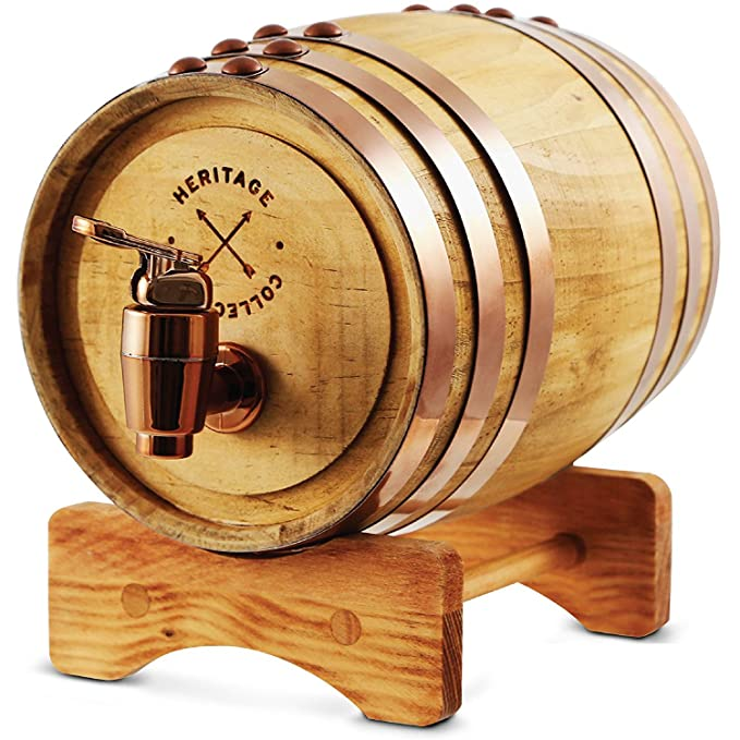 REFINERY AND CO Miniature Wood Whiskey Barrel Dispenser 800 ml/27 fl oz Volume, for Serving and Entertaining, Table Home Accent Display & Storage of Spirits, Liquors; Great Gift for Men and Women best beverage dispenser