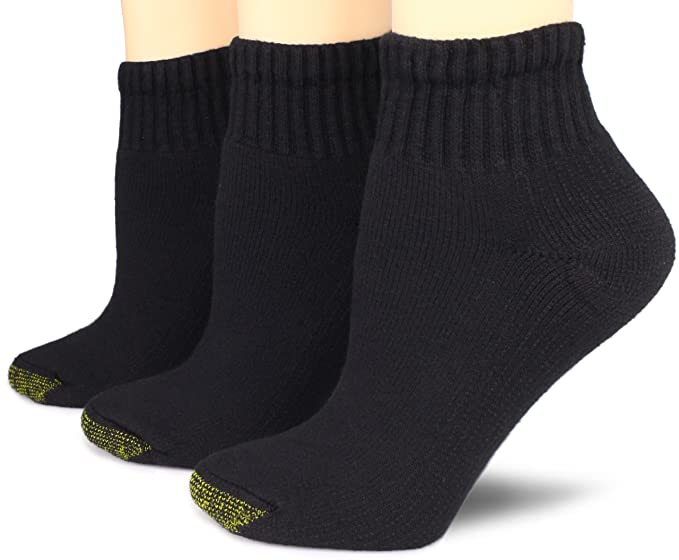2bd976a87cb4c9 Gold Toe Women's 3-Pack Ultratec Qurarter Socks, Black, Shoe Size: 6 ...