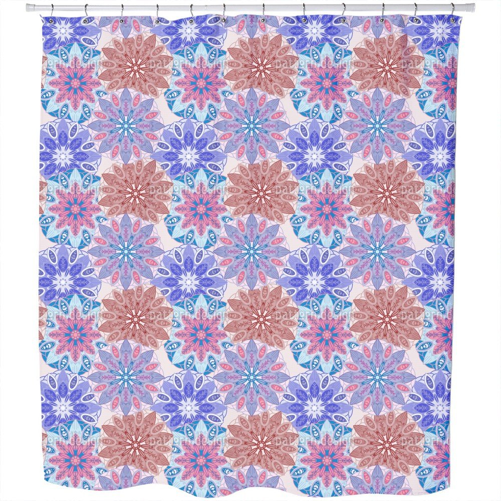 Uneekee Flower Mandala Dream Shower Curtain: Large Waterproof Luxurious Bathroom Design Woven Fabric