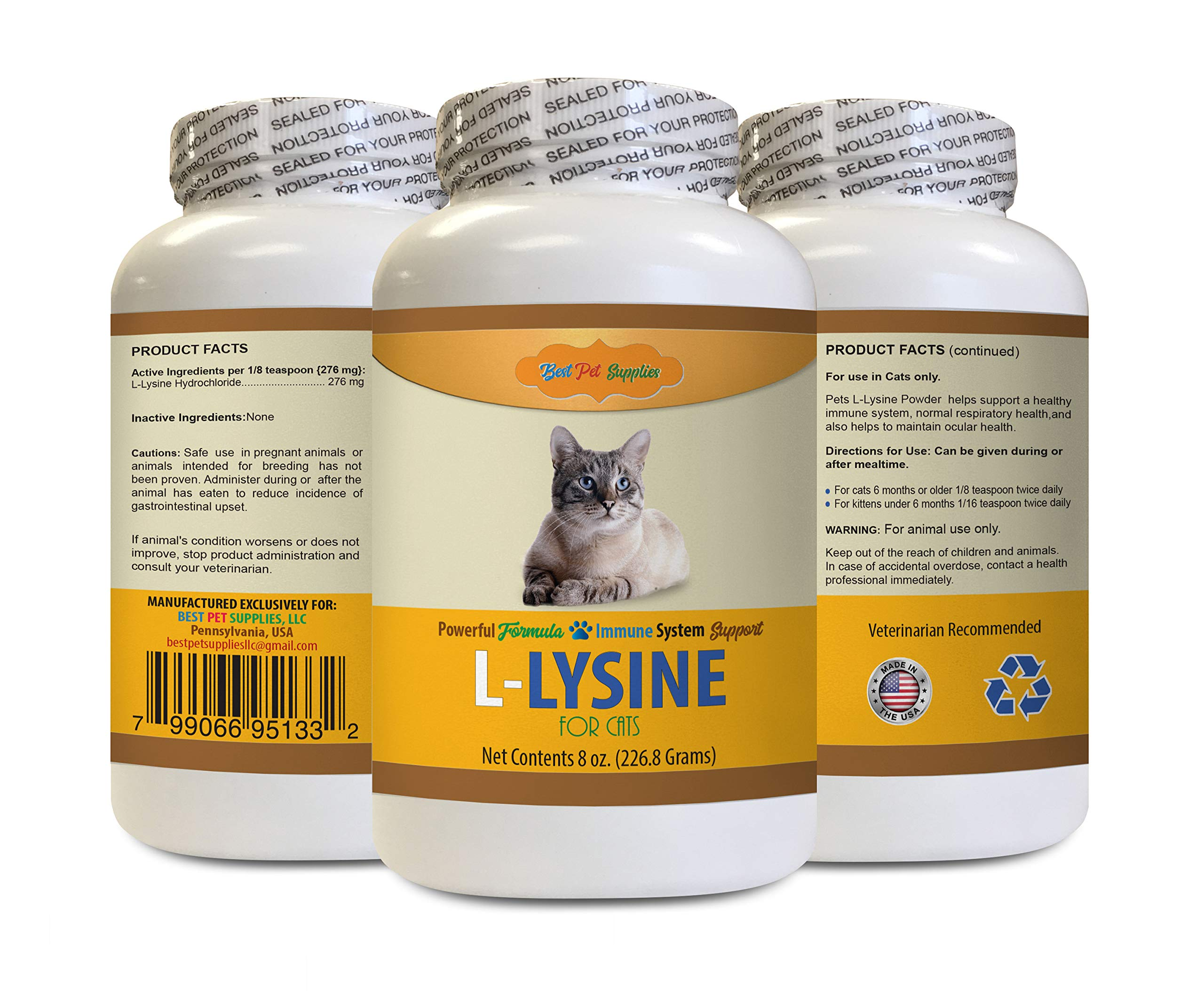 BEST PET SUPPLIES LLC cat Anti Itch - L-LYSINE Powder for Cats - Premium Immune Support - Vet Recommended - cat lysine Powder - 1 Bottle (8 OZ) by BEST PET SUPPLIES LLC