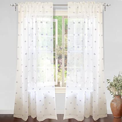 DriftAway Ellie White Voile Sheer Window Curtains Embroidered With Pom Rod Pocket