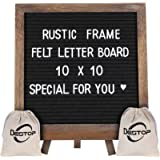 Felt Letter Board with Rustic Frame and Stand 10x10 inch,Changeable Letter and Message Board Include 470 Precut Letters…