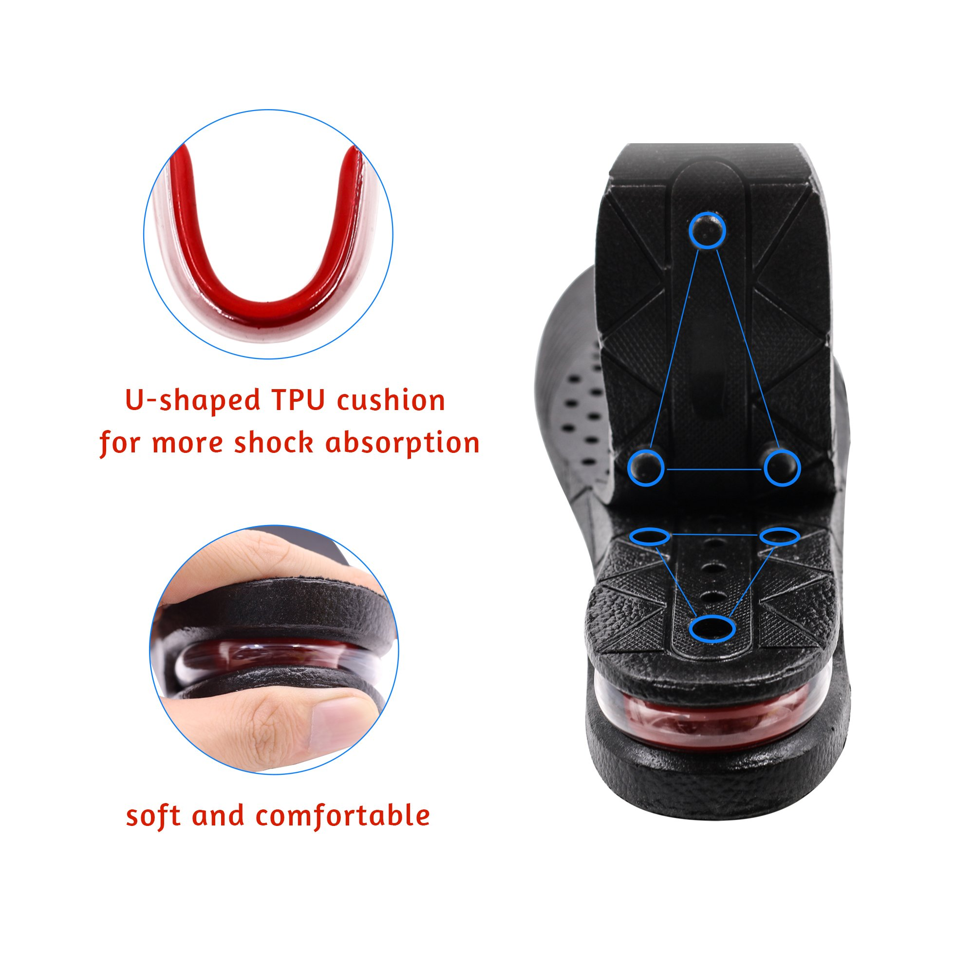Height Increase Insoles 4-Layer 3.54 inch Air Cushion Taller Shoes Insoles Heel Insert for Men and Women by ERGOfoot