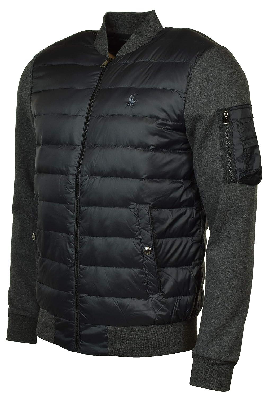 Windsor Heather Polo Black Black Black Polo Ralph Lauren Men's Double Knit Hybrid Down Bomber Jacket a9bf2a