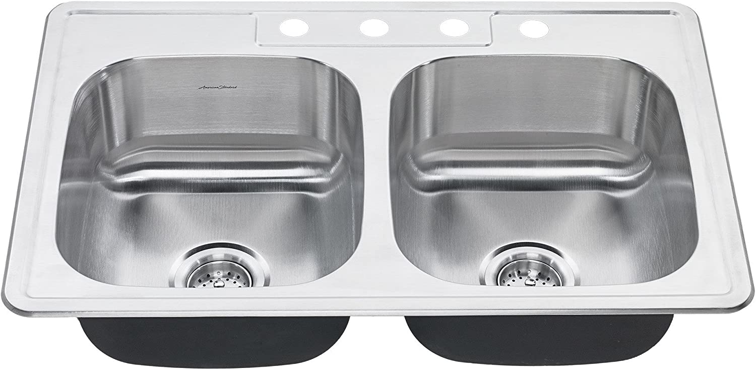 American Standard 20DB.8332284S.075 Colony Top Mount 33×22 Double Bowl Stainless Steel 4-hole Kitchen Sink,