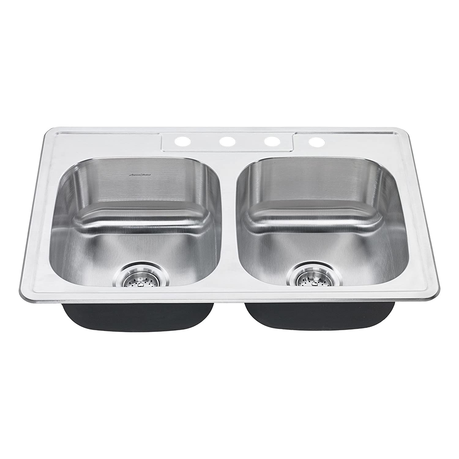 American Standard 20DB.8332284S.075 Colony Top Mount 33x22 Double Bowl Stainless Steel 4-hole Kitchen Sink,