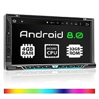 XOMAX XM-2DA9605 Autoradio con Android 8.0 + navigatore GPS App + touch screen da 6,95'' + Supporto WIFI + Bluetooth + Porta USB + Slot Micro SD + DVD + Archiviazione interna 32GB + 2 DIN/doppio DIN